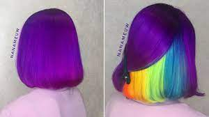 Purple Hair Color With Hidden Rainbow Layer Turns Heads on Instagram    Allure